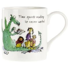 """This brilliant mug is illustrated by Quentin Blake, with the excellent sentiment """"Time spent reading is never wasted"""". Mug height diameter 10 oz capacity. Cat Presents, Where The Sidewalk Ends, Staff Motivation, Quentin Blake, Going Away Gifts, Literary Gifts, Company Gifts, Gifts For Readers, Cool Mugs"""