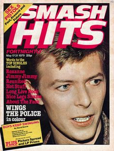David Bowie on the cover of Smash Hits, May 1979.