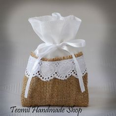 "SET OF 50 Natural Rustic Burlap and Linen Wedding Favor Bag or Gift Bag 4""x6"" with hearts"