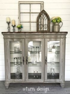 Sold Grey painted Hutch& Buffet& China cabinet with by UTurnDesign Refurbished Furniture, Paint Furniture, Repurposed Furniture, Furniture Projects, Furniture Makeover, Furniture Plans, Metal Furniture, Garden Furniture, Office Furniture