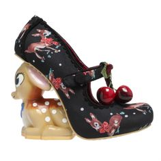 Cherry Deer | Irregular Choice Oh my Fawn! This shoe is jumping with us into the new season! A new , highly anticipated, character heel in the cutest form of a Baby Deer! Huge sweet eyes, a tiny nose and freckled skin, this shoe comes in a variety of colours. Baby blue with red cherries on the Cross T- strap, Rustic Pink or Black, all with a fawn print fabric upper. A scalloped edging around the fastening adds extra detail.