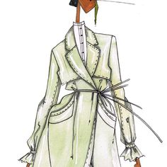 « 3/5 #COMINGSOON Oversized cream calico minimalist TrenchCoat with large pockets and gathered sleeves. #JLarkowskyIllustration x H&M #WatchThisSpace… »