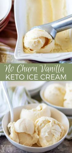 No ice cream maker at home? No problem. And if you're leading a low carb lifestyle, it is possible to make it delicious too. Just take a look at this easy vanilla keto ice cream recipe without condensed milk. #sugarfree #icecream #lowcarb #keto #ketorecipe | LowCarbYum.com