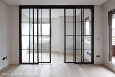 office Reform and decoration of a house in the center of Madrid. Architecture and Decoration Sheddin Door Design, House Design, Deco Studio, Glass Room Divider, Glass Barn Doors, Interior And Exterior, Interior Design, Room Doors, Office Interiors