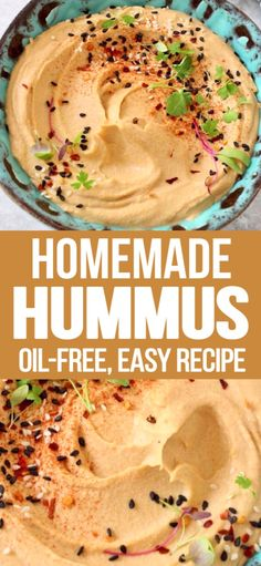 The best oil-free hummus recipe with chickpeas creamy tahini zesty lemon and aquafaba. Totally vegan whole foods plant based easy to make healthy smooth and creamy ready in less than 5 minutes in your Vitamix . Plant Based Snacks, Plant Based Whole Foods, Plant Based Eating, Easy Plant Based Recipes, Plant Based Diet, Aquafaba, Vegan Sauces, Vegan Dishes, Best Vegan Recipes