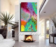 diptych painting, abstract painting, large abstract print on canvas, turquoise, peacock painting, colorful abstract, purple, pink, green, by JuliaApostolova on Etsy https://www.etsy.com/listing/196981511/diptych-painting-abstract-painting-large