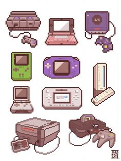 Pixelated Nintendo consoles (home & handheld)