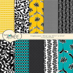 "Printable Digital Scrapbook Paper, Black, White, Yellow, Turquoise, Flower, Leaf, & Geometrics 8.5""x11"" or 12""x12"" - Group 53"