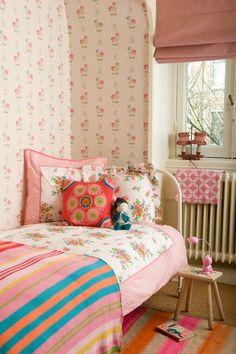 pink girly kid room vintage
