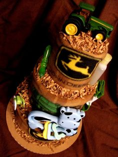 John Deere diaper cake. I totally know someone who would go nuts over this!