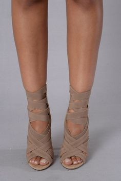 "- Available in Black, Khaki, Mint, and Fuchsia - Suede Sandal - Elastic Strappy Front - 4"" Heel. Love them"