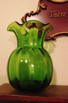 Vintage Scalloped Green Vase by VickiAnnCreations on Etsy, $15.00