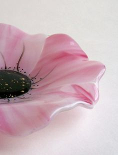Fused Glass Poppy Dish Pink by CDChilds on Etsy, $38.00