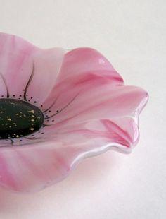 Fused Glass Poppy Bowl