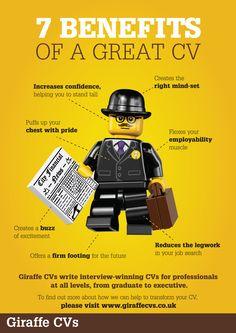 Must-read blog: Supercharge your job hunt: seven benefits of a great CV http://www.giraffecvs.co.uk/seven-benefits-of-a-great-cv/