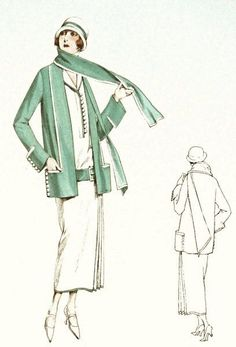 Classic 1920s dress and jacket sewing pattern. Short sleeves and navy collar. on Etsy, $43.67 AUD