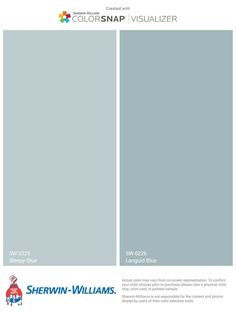 Perfect Pale Blue Pairing – Sleepy Blue and Languid Blue by Sherwin Williams – main Bathroom ideas color palettes Pale Blue Paints, Blue Gray Paint Colors, Pale Blue Walls, Bedroom Paint Colors, Exterior Paint Colors, Paint Colors For Living Room, Paint Colors For Home, House Colors, Tinta Sherwin Williams