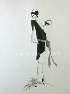 Fashion Illustration 1920s Art Deco by LinearFashions, $32.00.