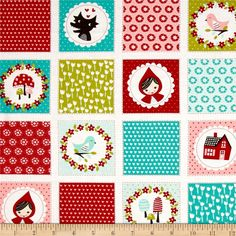 Moda Lil' Red Patchwork Cloud from @fabricdotcom  Designed by Chez Moi for Moda Fabrics, this cotton print fabric is perfect for quilting, apparel and home decor accents. Colors include turquoise, white, red, pink and green with white borders.