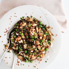 Refreshing red quinoa salad with peas, beans and herbs