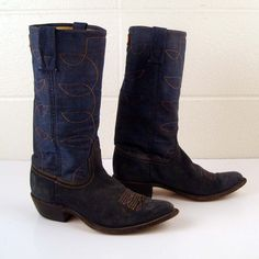 Denim Cowboy Boots Vintage 1970s Denim  Acme Blue Suede Leather Stacked Heel Cowboy Boots Men's 5 1/2. $88.00, via Etsy.