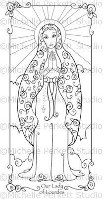 1000 images about religious art 2 make on pinterest for Our lady of lourdes coloring page