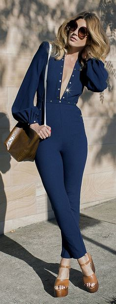 Navy Glam Jumpsuit Chic Style # Trends Of Spring Apparel Style Navy Glam Jumpsuit Glam Jumpsuit Chic Style How To Wear Glam Jumpsuit Chic Style 2015 Glam Jumpsuit Chic Style Where To Get Glam Jumpsuit Chic Style How To Style Navy Jumpsuit, Backless Jumpsuit, Fashionista Trends, Blue Jumpsuits, Jumpsuits For Women, Casual Chic, Casual Outfits, Fashion Outfits, Womens Fashion