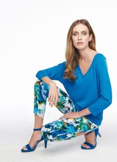 Pantalon en coton multicolore Elégance de la Boutique Elegance Paris prix 195,00 € TTC