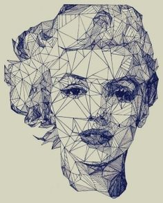 Geometric portrait of Marilyn Monroe Art And Illustration, Illustrations, Portrait Illustration, Arte Pop, Pop Art, Kreative Portraits, Design Art, Graphic Design, Blog Design