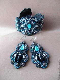 """Браслет+серьги """"Галактика"""" - синий,браслет змейка,браслет,серьги,комплект украшений"""
