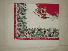Vintage CHRISTMAS Tablecloth Santa in His by unclebunkstrunk, $54.99