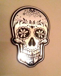 Suger Skull with Daisy Eyes Mirror by MostAmazingMirrors on Etsy