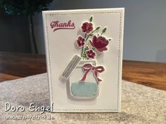 Stampin Up! Card, Flowers, Thanks, Jar of Love Stamp Set, Colors: Whisper White, Sweet Sugarplum, Rose Red, Wild Wasabi, Smoky Slate, Soft Sky (Water in Jar)