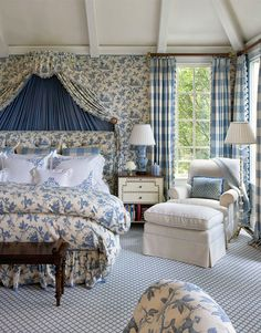 Cullman & Kravis: Country. Lovely blue & white room- very comfortable feeling. Not overdone. And again the ceiling is great!