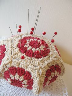 Sweet pincushion with grannie squares!
