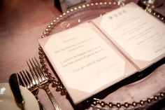 notes to each guest at the wedding alongside the menu