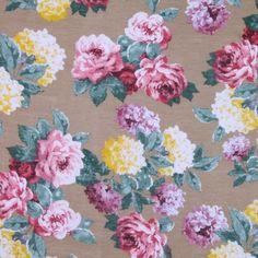 Italian Beige Rose-Print Silk-Cotton - Fashion Fabrics