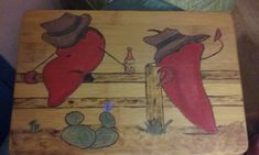 Woodburned with Acrylic bamboo cutting board. Title: summer heat.