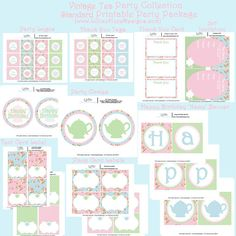 Vintage Tea Party - Shabby Chic Girls Birthday - PRINTABLE Standard Party Package - Girls Tea Party. $10.00, via Etsy.