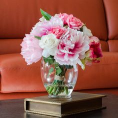 Silk Peonies Artificial Floral Arrangement Pink with Real Touch Flowers Rose Cabbage Oriental Lily Glass Vase