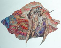 Hermit Crab | Sophie Standing Art | Textile embroidery art from Africa