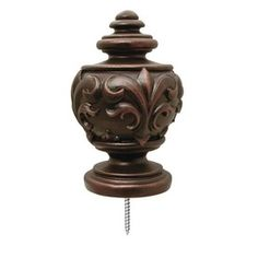 Captivating Allen + Roth 2 Pack Sienna Wood Curtain Rod Finials