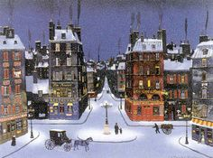 Nuit De December 2008 by Michel Delacroix - Lithograph Holiday Pictures, Winter Pictures, Art Pictures, X 23, Michel Delacroix, Delacroix Paintings, Carol Of The Bells, Classic Paintings, French Paintings