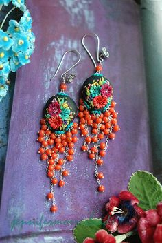 reserved for amanda - bella isabella - long festive mexican embroidery earrings