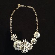 Brand New Loft Necklace Never Worn beautiful white, black, and gold floral statement necklace. LOFT Jewelry Necklaces
