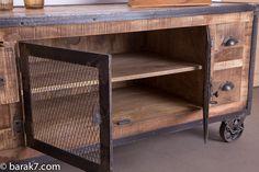 Meuble TV industriel 4 tiroirs finition antique - BARAK'7