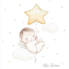 No wings, and sitting instead of floating. but this type of drawing/picture is perfect! 2 Baby, Baby Art, Baby Kind, Baby Illustration, Watercolor Illustration, Dibujos Baby Shower, Mode Poster, Baby Hamper, Baby Posters