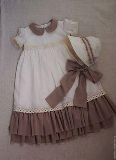 Купить Комплект для фотосесии малышей.Платье и чепчик.Ретро-стиль. - кремовый, комплект для фотосессии