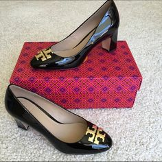Tory Burch Heels Black patent shoes with gold logo to each toe. Size 7. Never worn Tory Burch Shoes Heels