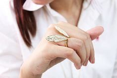 White Dragonfly Wings Ring / Fashion Adjustable by SeptemberRoom